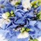 голубой букет невесты с гортензией